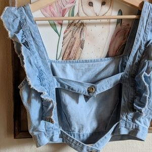 Urban Outfitters Tops - UO Cooperative // denim frill apron top